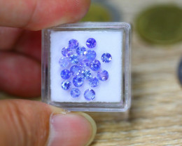 3.13ct Natural Violet Blue Tanzanite Round Cut Lot V7806