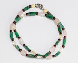 Garnet Aventurine and Quartz Bead Necklace