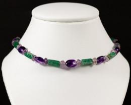 Amethyst and Aventurine Gemstone Bead Necklace