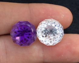 21.50 ct Special Edition Reverse Pair Natural Topaz & Amethys Perfect