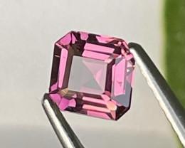 Afghanistan Raspberry Pink Top Grade Asscher Cut Natural Tourmaline 0.86 Ct