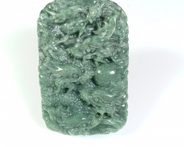 Natural Grade A Jadeite Jade 9 Dragon Carving Pendant