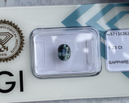 UNTREATED 1.23ct Vivid Green Blue Sapphire IGI CERTIFIED Unheated Oval Cut