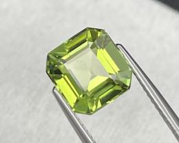 3.45 Cts Asscher Cut AAA Grade Natural Apple Green Tourmaline
