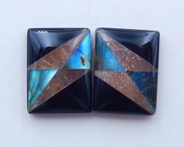 P0387 - 16cts Sun Stone,Labradorite,obsidian intarsia cabochons,Intarsia ge