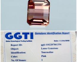 GGTI-Certified 1.10 ct Pink Tourmaline Gemstone Natural