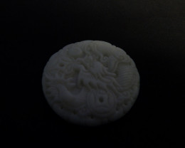126 carats natural untreated white jade carved pendant