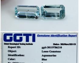 GGTI-Certified 1.85 Ct Blue Aquamarine Gemstone Natural Pair