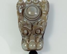 Natural Agate Dragon Carving Pendant