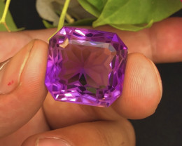Assher cut 32.25 ct Natural Amethyst Ring size