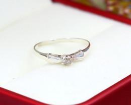 Diamond Silver Ring Natural Diamond Set in 925 Silver Ring NXS88