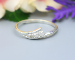 Diamond Silver Ring Natural Diamond Set in 925 Silver Ring NXS122