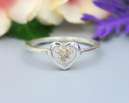 Diamond Silver Ring Natural Diamond Set in 925 Silver Ring NXS129