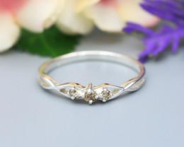 Diamond Silver Ring Natural Diamond Set in 925 Silver Ring NXS142