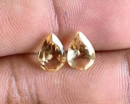 6x9mm Citrine Pair Natural Pear Faceted Gemstone VA1156