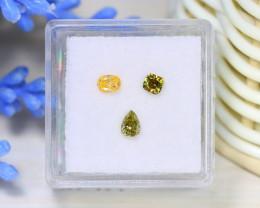 0.60Ct 3Pcs Natural Yellow Green Diamond Untreated Genuine B3002