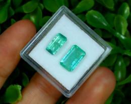 Zambian Emerald 3.01Ct 2Pcs Octagon Cut Natural Green Emerald B3007