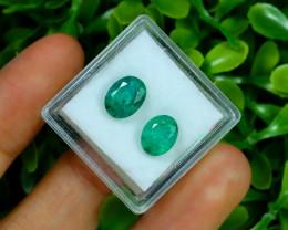 Zambian Emerald 3.24Ct 2Pcs Oval Cut Natural Green Emerald B3022
