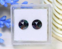 2.76Ct 6.7mm 2Pcs Rose Cut Natural Black Color Diamond Genuine B3034