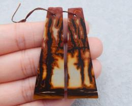 D2210 - 44.5cts natural chohua jasper earrings bead pair,chohua jasper earr