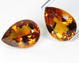 6.63Cts Excellent Natural Madeira Color Citrine Pear Shape Matching Pair VI