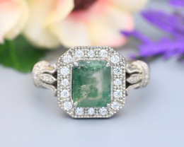 1.77Ct Moss Agate Natural Untreated Moss Agate 925 Silver Ring ET180