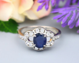 Sapphire 1.02Ct Natural Blue Sapphire Natural 925 Silver Ring ET129