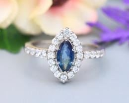 Sapphire 0.71Ct Natural Australian Sapphire 925 Silver Ring ET188