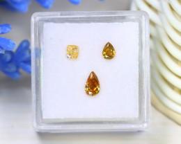 0.63Ct 3Pcs Natural Orange Yellow Diamond Untreated Genuine A0103