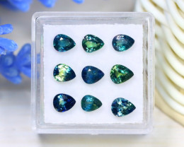 Sapphire 4.34Ct 9Pcs Pear Cut Natural Madagascar Parti Sapphire A0111