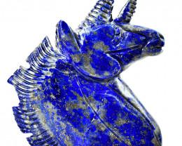 Genuine 1970.00 Cts Lapis Lazuli Carved Unicorn Head