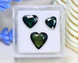 Sapphire 4.86Ct 3Pcs Heart Cut Natural Australian Parti Sapphire C0108