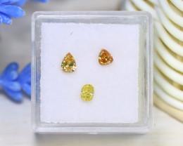 0.63Ct 3Pcs Natural Yellow Orange Diamond Untreated Genuine C0122