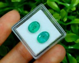 Zambian Emerald 3.00Ct 2Pcs Oval Cut Natural Green Emerald C0135