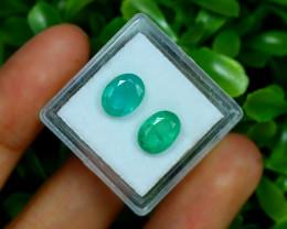 Zambian Emerald 3.52Ct 2Pcs Oval Cut Natural Green Emerald B0215