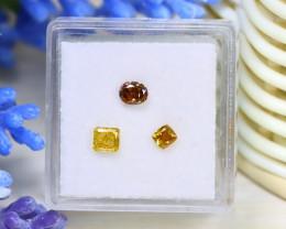 0.73Ct 3Pcs Natural Orange Yellow Diamond Untreated Genuine B0219