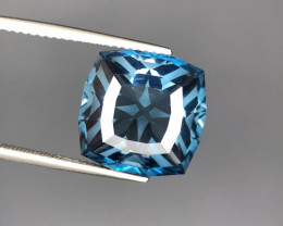 ~No Reserve~12.00(ct) Precision cut London blue Topaz