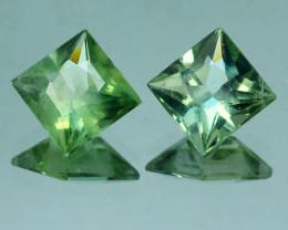 2.60 Cts Natural Green Apatite 6.5mm Square 2Pcs PAIR Brazil