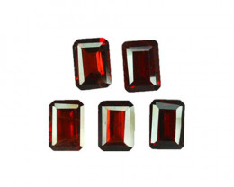 5.90 Cts Natural Pinkish Red Rhodolite Garnet 7x5mm Octagon 5Pcs Mozambiqu