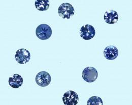 2.09 Ct Natural Purple Blue Tanzanite Round 3.5-3.4mm Calibrated