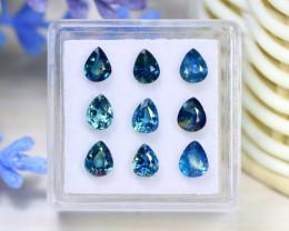 Sapphire 3.96Ct 9Pcs Pear Cut Natural Madagascar Parti Sapphire C0313