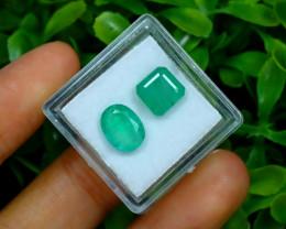 Zambian Emerald 4.26Ct 2Pcs Natural Green Color Emerald C0315