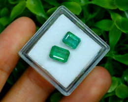 Zambian Emerald 3.02Ct 2Pcs Octagon Cut Natural Green Emerald C0324