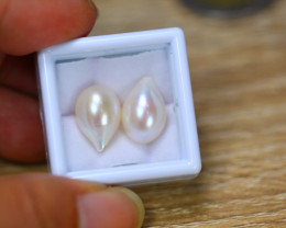 14.41Ct Natural Milk White Fresh Water Pearl Drill Earring Lot  B3833