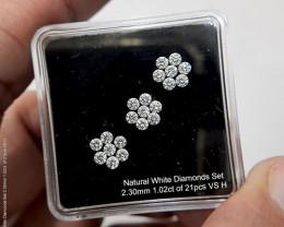 Certified 1.02Ct of 21pcs 2.30mm H VS Loose Natural White Diamonds Matching
