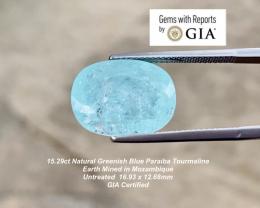 15.29 GIA Paraiba Tourmaline - Greenish Blue / 16.93 x 12.68mm / GIA Certif