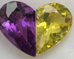 Natural 20.38 Carats Amethyst/Lemon Quartz half hearts