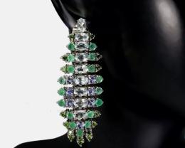 (15) Fascinating 16.52 gr Tanzanite Chrome Diopside Silver Earrings