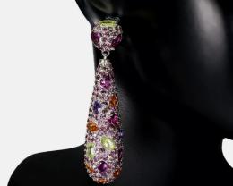 (1) Amazing Natural 23.25tcw. Rhodoliite garnet Earrings