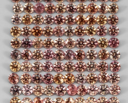 3.18 Ct 1.7mm 112p Round Diamond Cut 100% Natural Top Padparadscha Sapphire